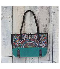 leather accent cotton blend shoulder bag, 'rainbow sunrise in emerald' (thailand)