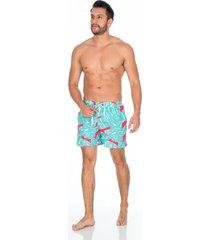 pantaloneta de baño verde para hombre con diseño y bolsillo trasero