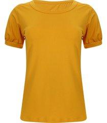 camiseta con recogido en puños color amarillo, talla 6