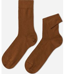 calzedonia short warm cotton socks man brown size 42-43