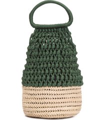 bolsa feminina palha macramê - verde