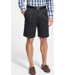 men's big & tall nordstrom men's shop smartcare(tm) pleated shorts, size 44 - black