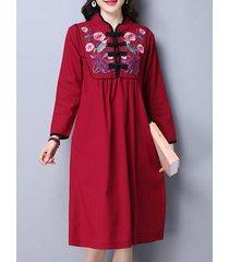 vestito da cinese della rana del collare del basamento del ricamo delle donne di stile tribale