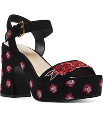 sandalia fontayah negro bordado flores nine west