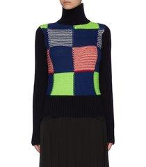 turtleneck patchwork rib wool knit sweater