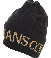 versace jeans couture macrologo big beanie hat