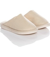 slippers warm stripes thm mujer beige