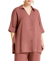 plus size women's marina rinaldi basilica linen shirt, size 14w - burgundy