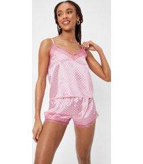 womens dot a chance satin lace cami and short pajama set - pink
