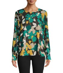 calvin klein women's floral blouse - jungle black combo - size s