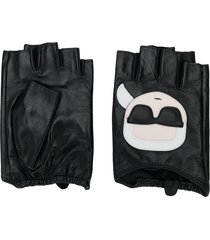 karl lagerfeld ikonic karl-appliqué fingerless gloves - black