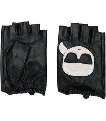 karl lagerfeld ikonic karl-appliqué fingerless gloves - black