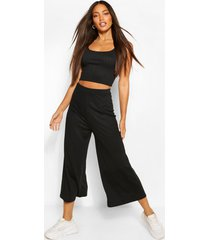 tall rib crop top and culottes trouser co-ord, black