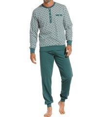 pastunette pyjama met knopen groen met print
