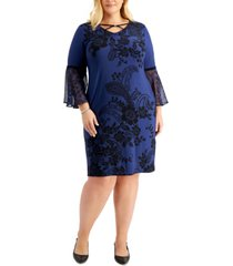 jm collection plus size printed chiffon-sleeve dress, created for macy's