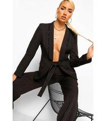 getailleerde blazer met kant en strik, black