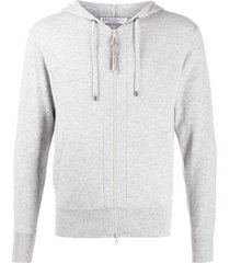 brunello cucinelli zipped drawstring hoodie - grey
