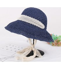 donna estate elegante floppy beach cappello di paglia wide brim protezione  uv bucket cap f5003700605e