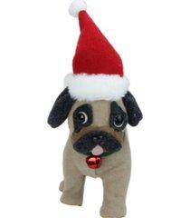 "northlight 13.25"" plush brown and gray pug dog with santa hat christmas decoration"