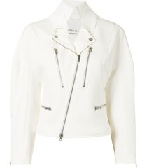 3.1 phillip lim hooded cotton biker jacket - white