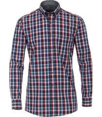 casamoda heren overhemd met rode accenten dobby comfort fit