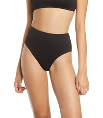 women's topshop ribbed high waist bikini bottoms, size - (nordstrom exclusive)