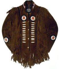 men western wear brown suede leather jacket fringe bons bead, men fringe jackets