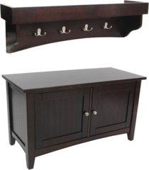 shaker cottage tray shelf coat hook with cabinet bench