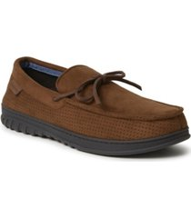 dearfoams ethan perforated moccasin with tie slipper men's shoes
