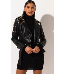 akira azalea wang leo studded pleather embellished moto jacket