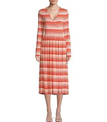 alina stripe surplice a-line midi dress