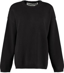 off-white long-sleeved crew-neck sweater