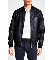 river island mens black faux leather bomber jacket