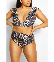 plus leopard frill top bikini set, brown