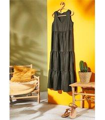 abito lungo in misto lino (verde) - bodyflirt