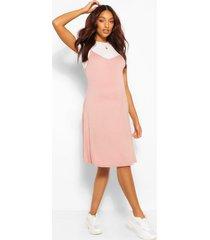 maternity 2 in 1 swing dress, dusky pink