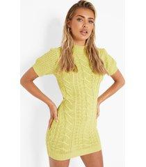 grof gebreide kanten mini jurk met uitsnijding, citrus green
