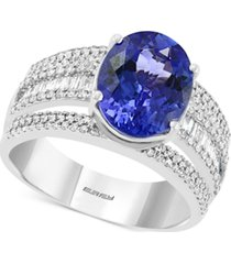 effy tanzanite (3-3/8 ct. t.w.) & diamond (5/8 ct. t.w.) ring in 14k white gold