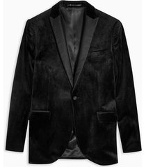 mens black skinny fit single breasted velvet blazer with peak lapels