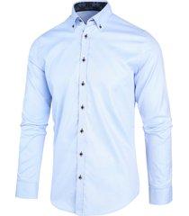 blue industry heren overhemd licht button down perfect fit