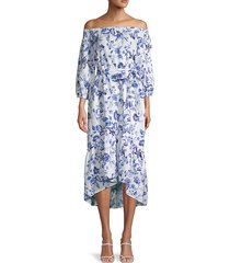 saks fifth avenue women's off-the-shoulder linen midi dress - vera stripe - size xs