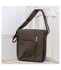 faux leather messenger bag, 'practical elegance' (costa rica)