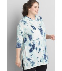 lane bryant women's livi printed hooded tunic 30/32 tie dye