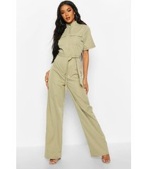 high neck utility jumpsuit, sage