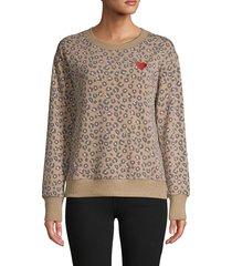 c & c california women's weekending leopard pullover - neutral camo - size xl