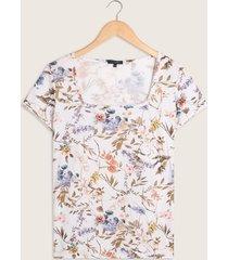 camiseta manga corta cuello cuadrado estampada-xs