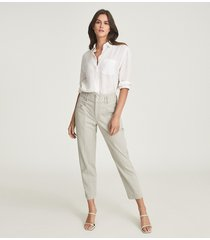 reiss baxter - relaxed tapered fit trousers in sage, womens, size 14
