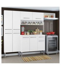 cozinha compacta madesa emilly top com armário e balcão branco cor:branco