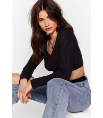 womens are you cup for it ribbed crop top - black