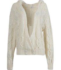 crossed knit hoodie